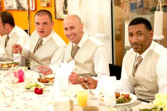 four men in wedding party